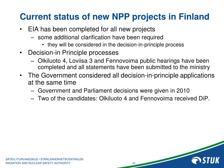 Current status of new NPP projects in Finland