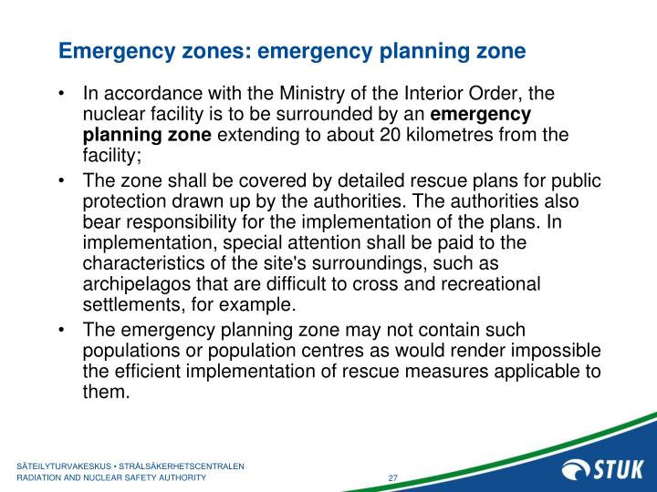 Emergency zones: emergency planning zone