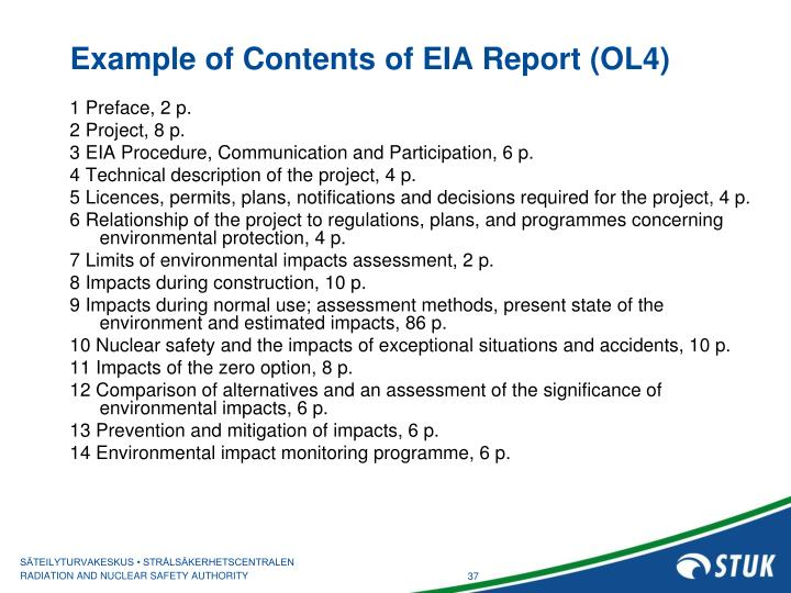 Example of Contents of EIA Report (OL4)