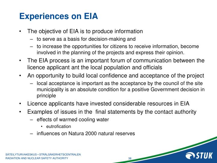 Experiences on EIA