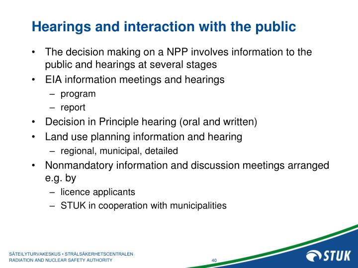 Hearings and interaction with the public