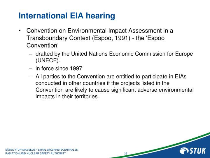 International EIA hearing