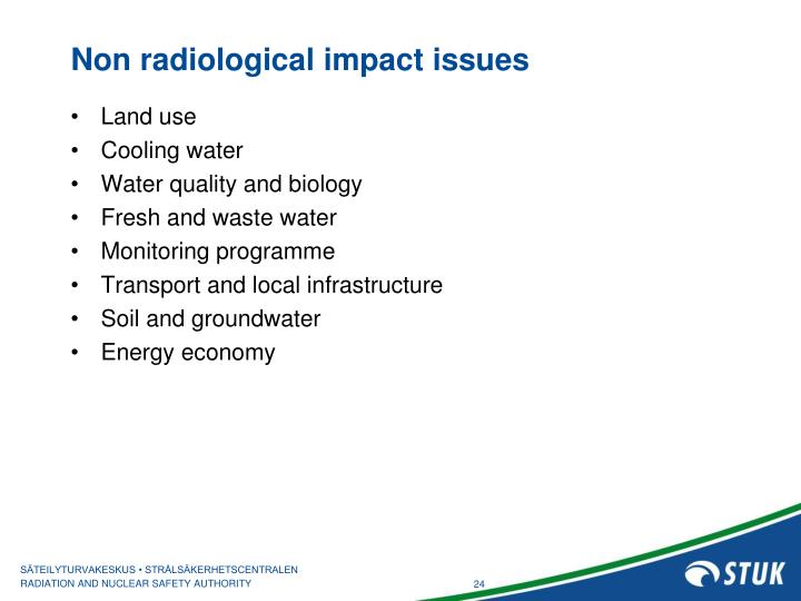 Non radiological impact issues