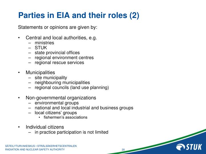 Parties in EIA and their roles (2)
