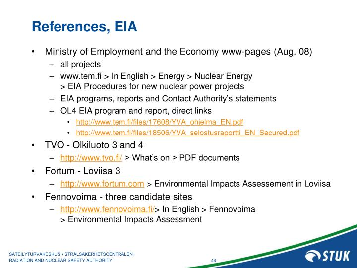 References, EIA