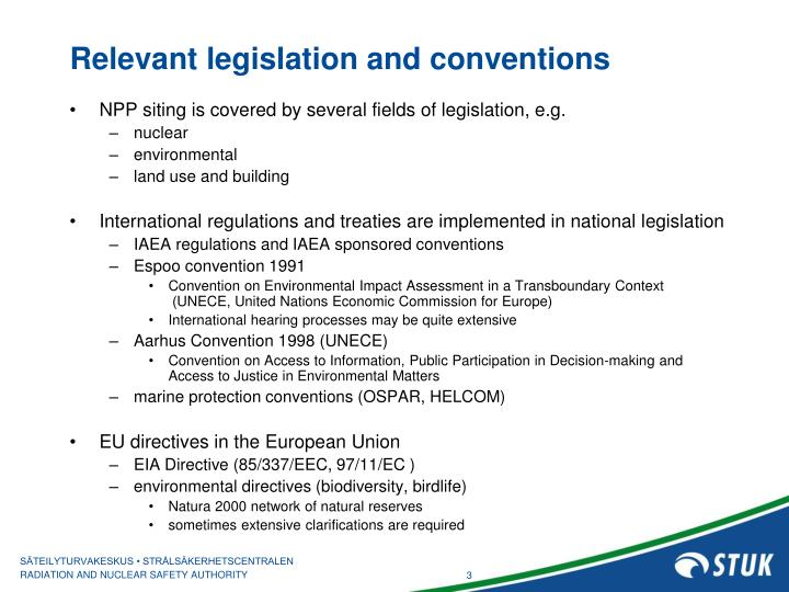 Relevant legislation and conventions