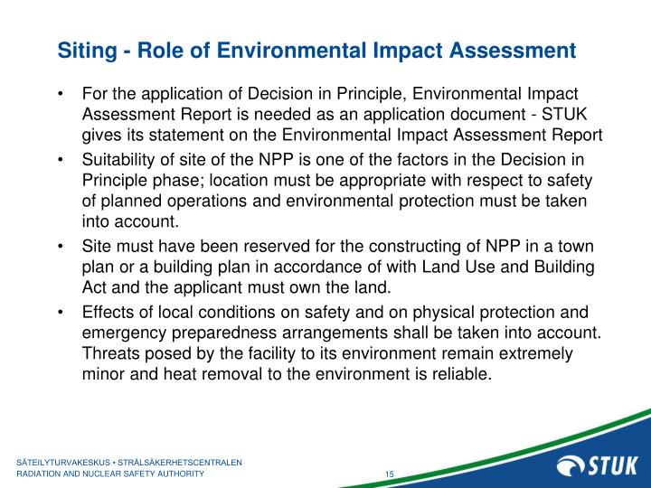 Siting - Role of Environmental Impact Assessment