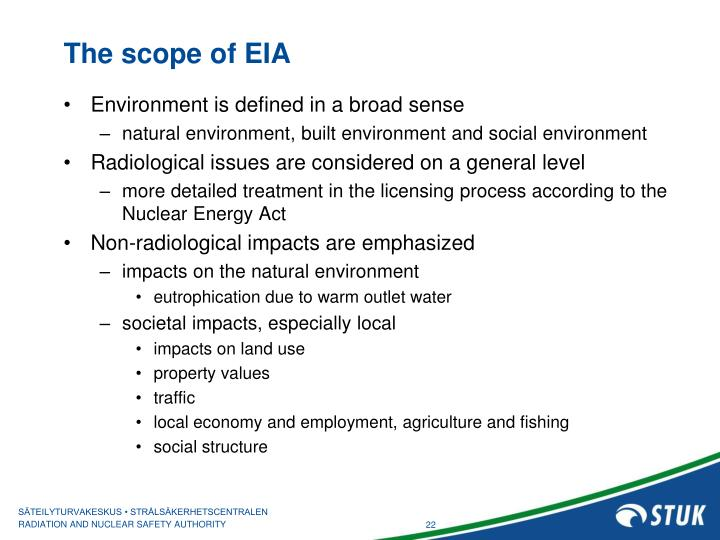 The scope of EIA