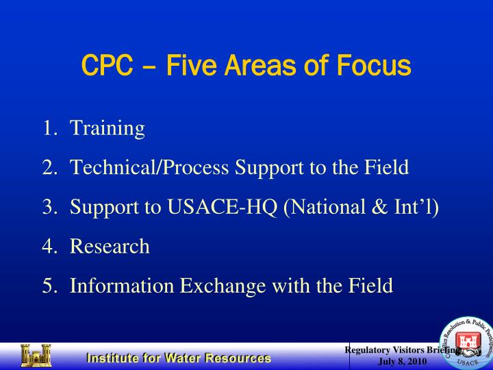 CPC – Five Areas of Focus