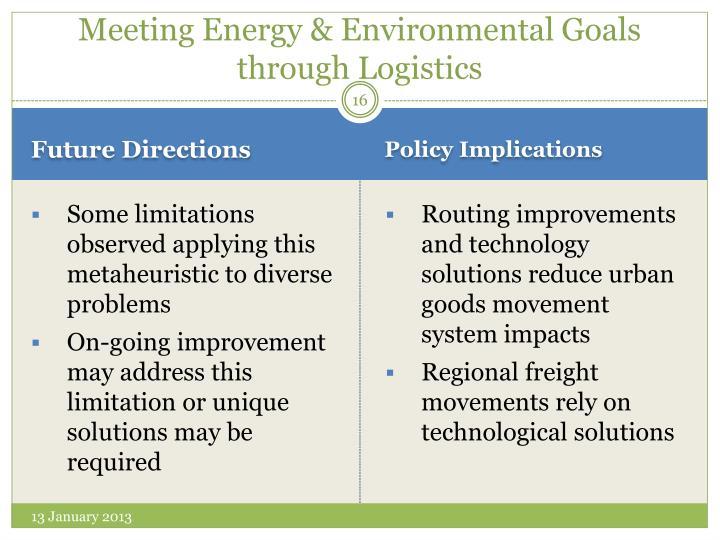 Meeting Energy & Environmental Goals