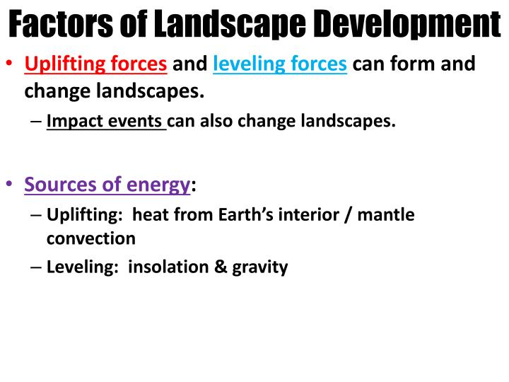 Factors of Landscape Development