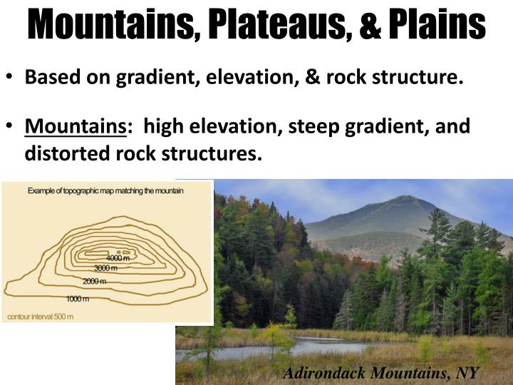 Mountains plateaus plains