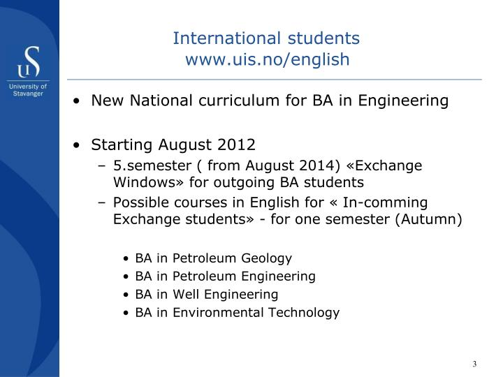 International students www uis no english