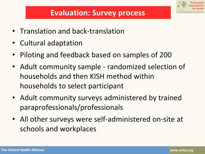 Evaluation: Survey process