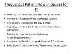 throughput patient flow initiatives for pi