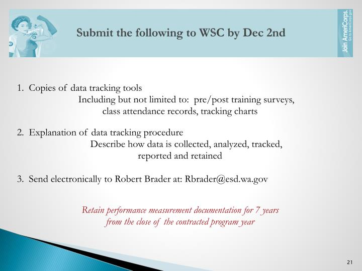 Submit the following to WSC by Dec 2nd