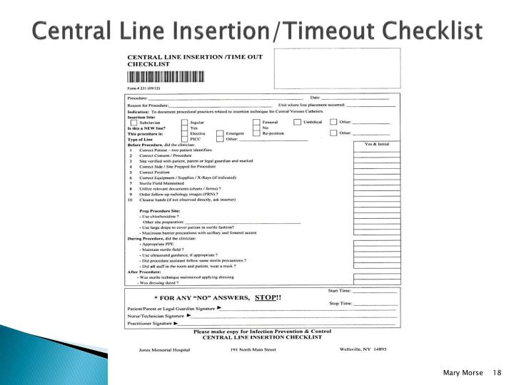 Central Line Insertion/Timeout Checklist