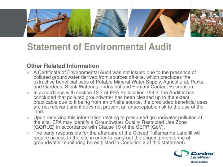 Statement of Environmental Audit