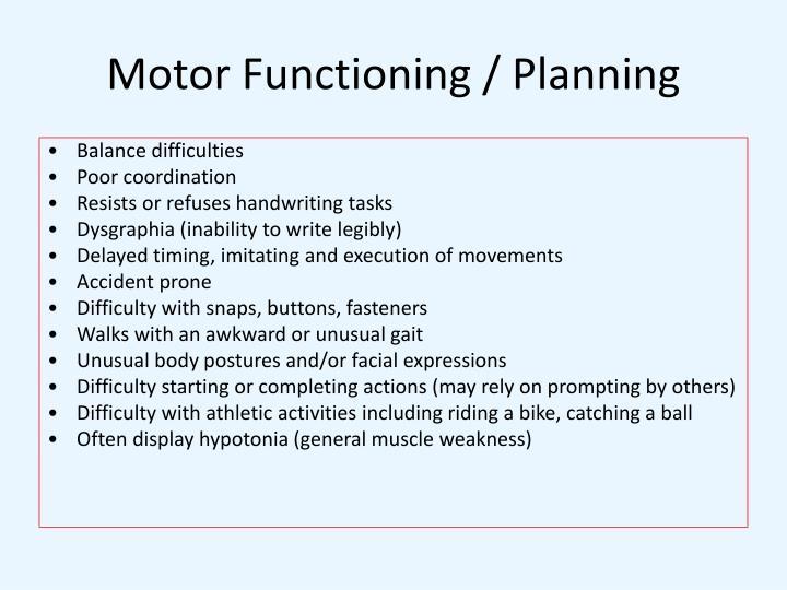 Motor Functioning / Planning