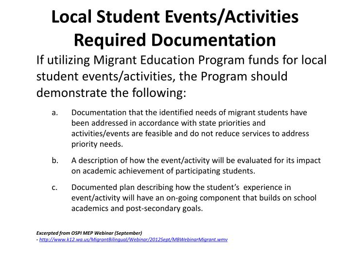 Local Student Events/Activities Required Documentation