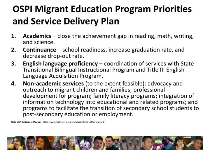 OSPI Migrant Education Program Priorities and Service Delivery Plan