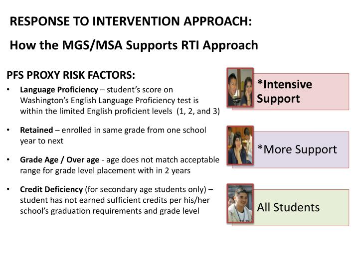 RESPONSE TO INTERVENTION APPROACH: