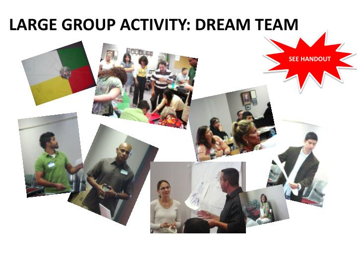 LARGE GROUP ACTIVITY: DREAM TEAM