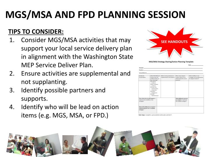 MGS/MSA AND FPD PLANNING SESSION