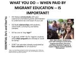 what you do when paid by migrant education is important