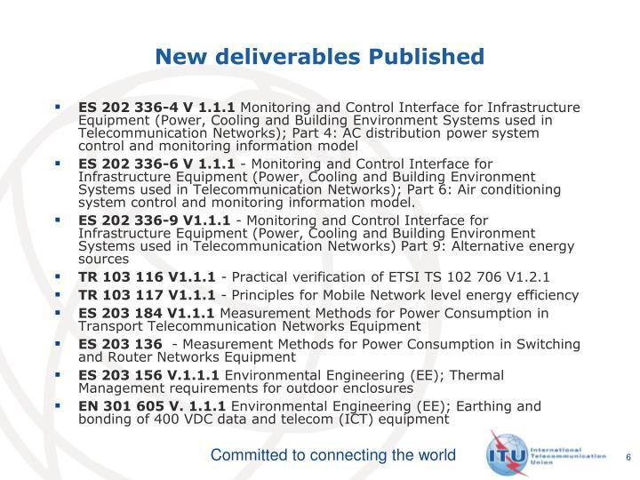 New deliverables Published