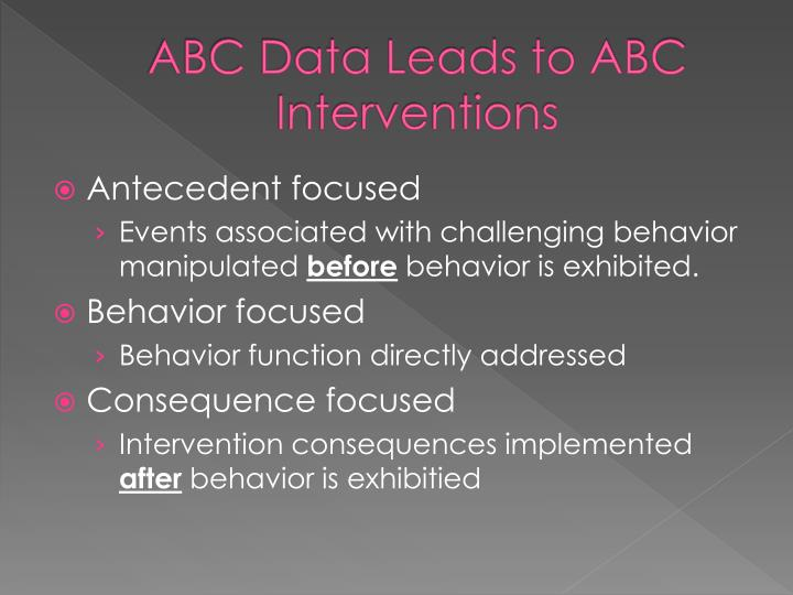 ABC Data Leads to ABC Interventions