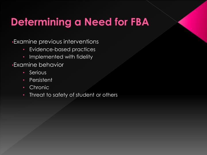 Determining a Need for FBA
