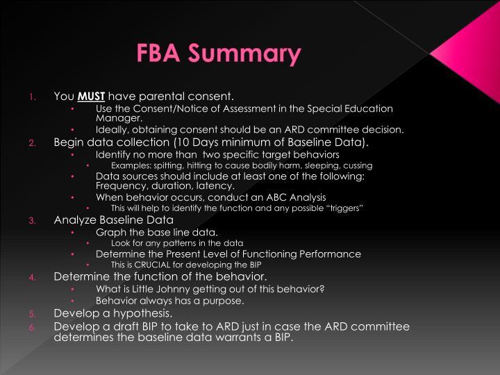 FBA Summary