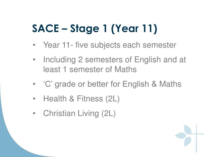 SACE – Stage 1 (Year 11)
