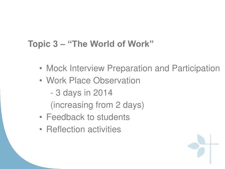 "Topic 3 – ""The World of Work"""