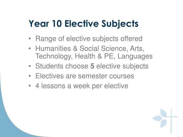 Year 10 Elective Subjects