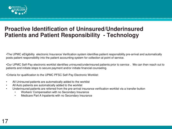Proactive Identification of Uninsured/Underinsured Patients and Patient Responsibility  - Technology