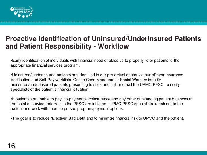 Proactive Identification of Uninsured/Underinsured Patients and Patient Responsibility - Workflow