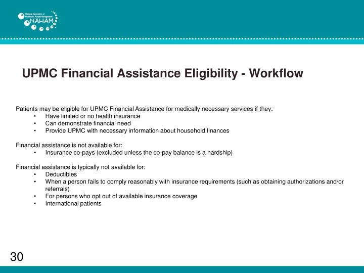 UPMC Financial Assistance Eligibility - Workflow