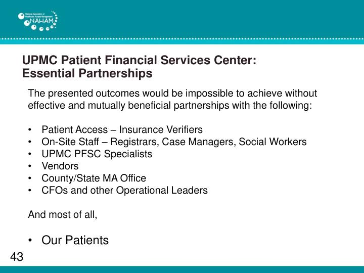 UPMC Patient Financial Services Center: