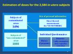 estimation of doses for the 2 584 in utero subjects