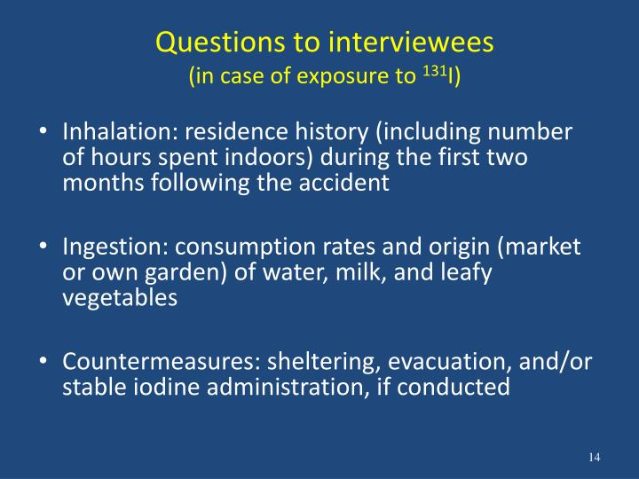 Questions to interviewees