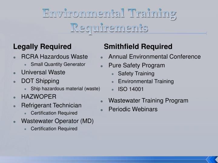 Environmental training requirements