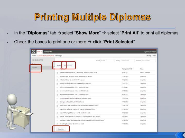 Printing Multiple Diplomas