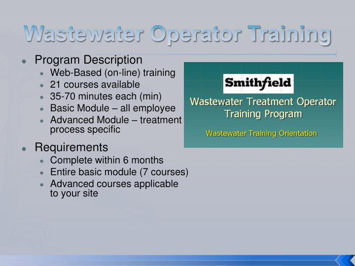 Wastewater Operator Training