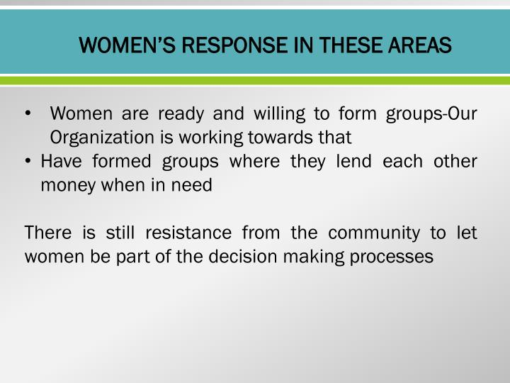 WOMEN'S RESPONSE IN THESE AREAS