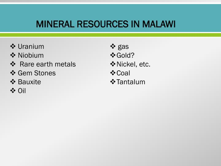 MINERAL RESOURCES IN MALAWI