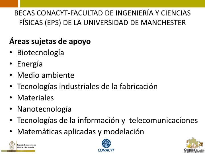BECAS CONACYT-FACULTAD DE INGENIERÍA Y CIENCIAS FÍSICAS (EPS) DE LA UNIVERSIDAD DE MANCHESTER