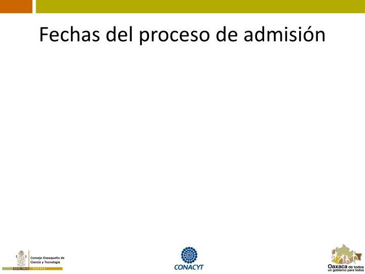 Fechas del proceso de admisión