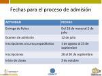fechas para el proceso de admisi n2